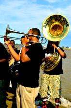 Brass Band. Mississippi Riverwalk in Nawlins