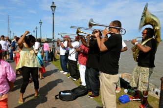 All For One Brass Band on the Mississippi Riverwalk in New Orleans