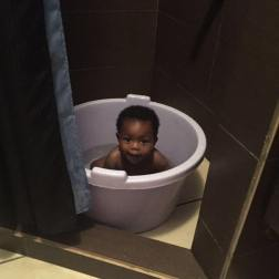 Bath time at Auntie's place